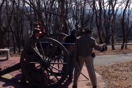 50th Tennessee Reennactment Group in a cannon fire exercise.