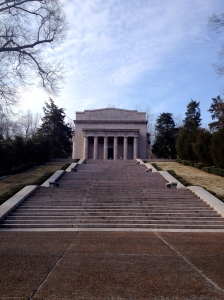 The monument that houses Lincoln's birthplace.