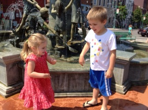My niece and nephew stopped at a fountain on our way to the opening day of the Farmer's Market last spring.
