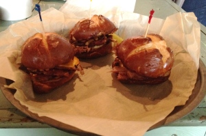 Pork sliders on a pretzel bun.  Delish!