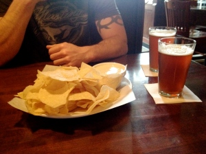 Beer cheese dip and Barnstormer Red brew.